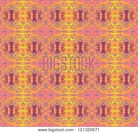 Seamless ellipses and diamond pattern yellow pink violet