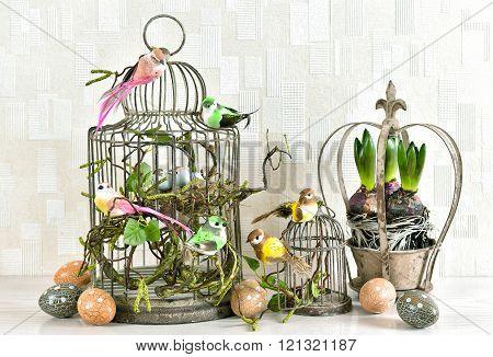 Easter Decoration Eggs, Birds, Hyacinth Flowers