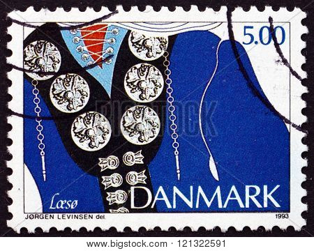 DENMARK - CIRCA 1993: a stamp printed in Denmark shows Traditional Ethnic Jewelry Laeso circa 1993
