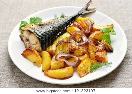 Fried Potato Wedges And Fish
