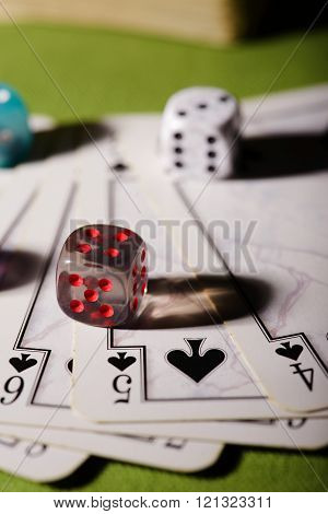 Transparent Dice On Playing Cards