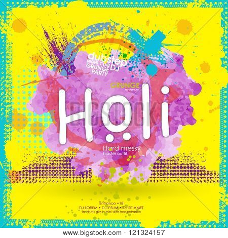 Banner or poster design for Indian Festival  Happy Holi. Splatter Background. Black Ink Splats. Spray Paint Splatters. Vector Paint Splats. Blots and Splashes.