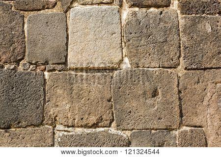 Ancient stone wall in Tzintzuntzan