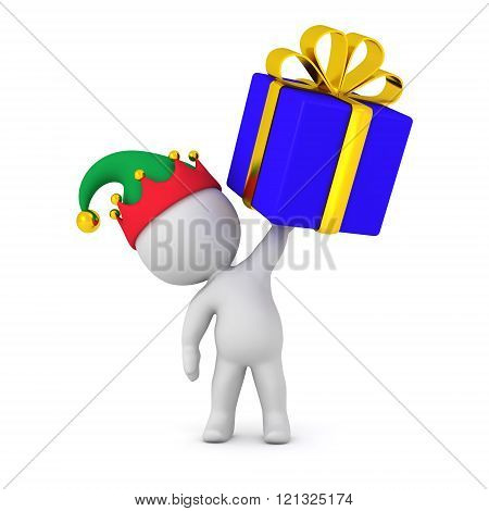 3D Character With Elf Hat Holding Wrapped Gift