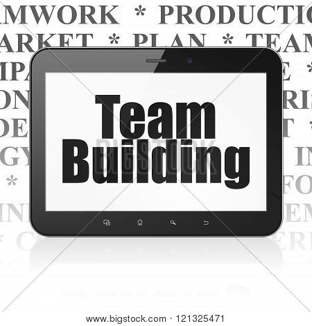 Business concept: Tablet Computer with Team Building on display