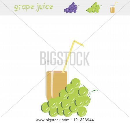 Banner Grape juice. A glass of juice, yellow straw, green grapes, on white background