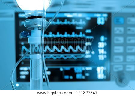 IV Medicine On The Background Of Heart Monitor.