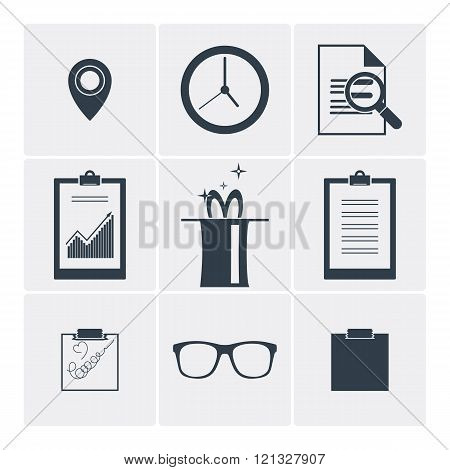 Set of flat vector icons: clock, magic, glasses, serach and other.