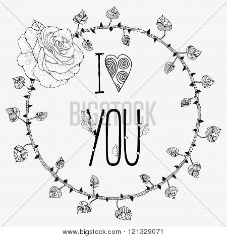 Hand Drawn Wreath With Rose And  Phrase I Love You. Made By Trace From Sketch.tree Trunk With Branch