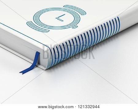 Timeline concept: closed book, Hand Watch on white background