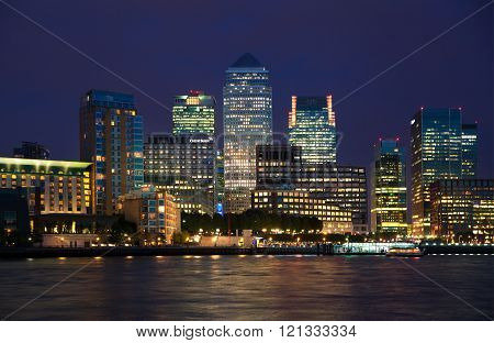 LONDON, UK - July 14, 2014: Canary Wharf business and banking district night lights