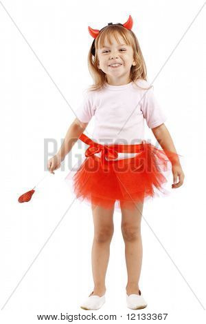 Funny girl in costume of little imp