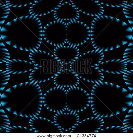 Seamless ellipses pattern blue black