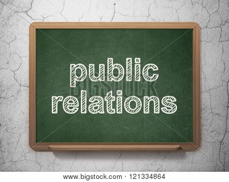 Advertising concept: Public Relations on chalkboard background