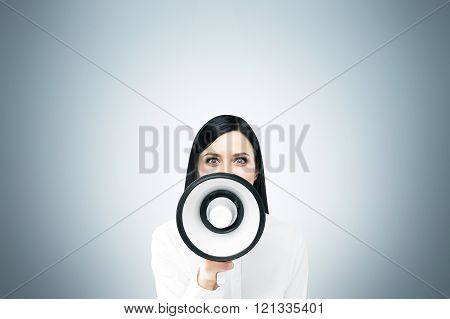 Woman With Loudspeaker