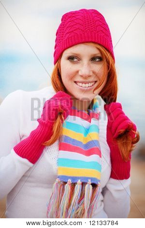 Cute girl wearing winter clothing