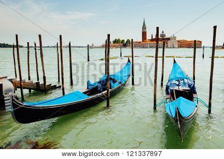 classic Venice Gondolas against Saint Giorgio bell tower