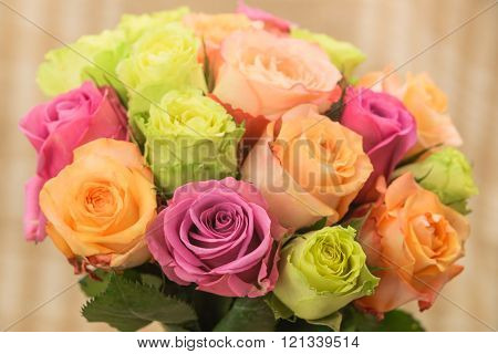 Rose multicolored bouquet