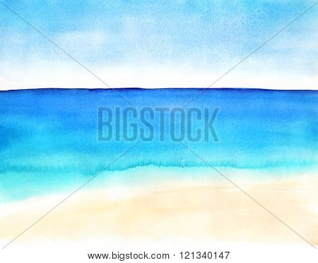 landscape with sand beach and ocean
