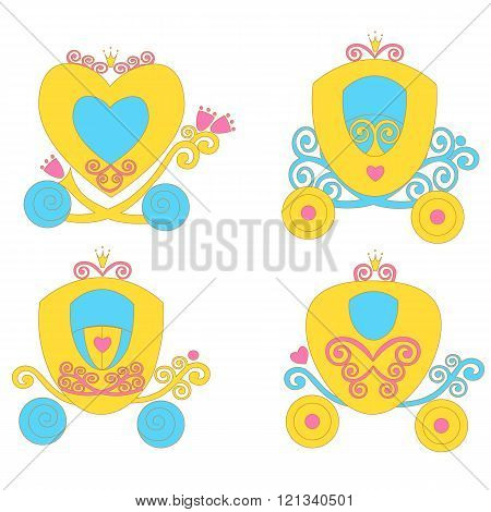 Beautiful Fairytale Cartoon Illustration Carriage Princess For Children Education.  Vector  Game For