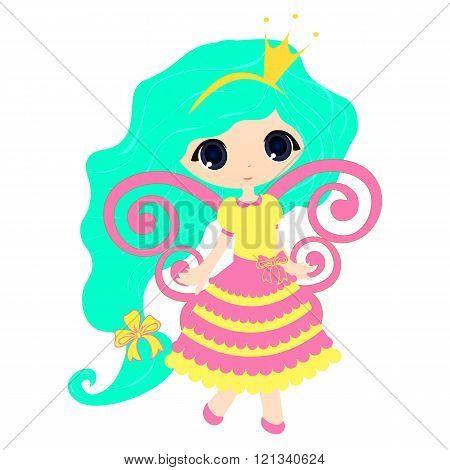 Brightly Beautiful Fairytale Cartoon Illustration Princess Girl For Children Education.  Vector  Gam