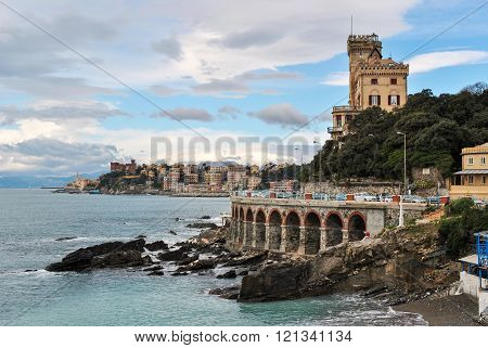 Panoramic View Of The Seafront Of Genoa, In The Sea District Called Quarto