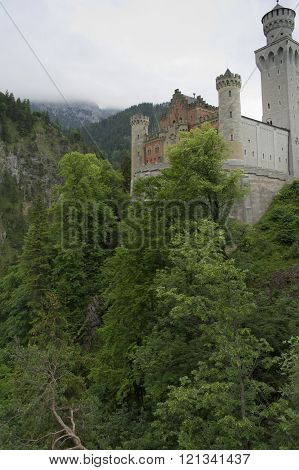view of the castle of neuschwanstein in germany