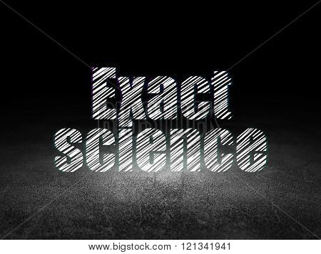 Science concept: Exact Science in grunge dark room