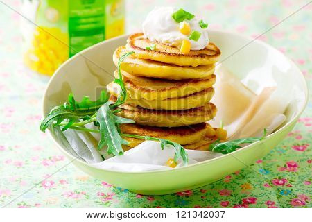 Corn Fritters  With Sour Cream