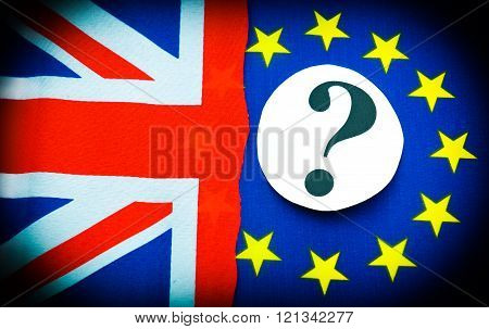 Brexit UK EU referndum concept with flags and question mark