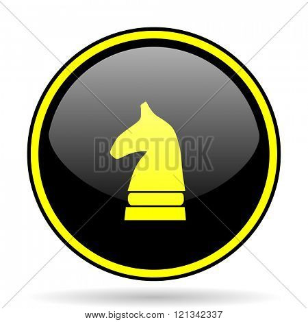 chess horse black and yellow modern glossy web icon