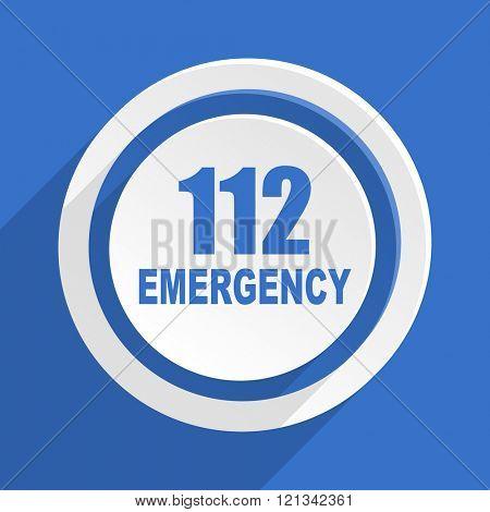 number emergency 112 blue flat design modern icon