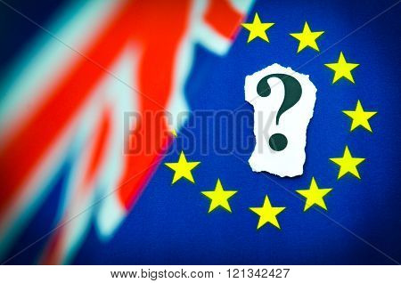 Brexit referendum concept with flags and question mark