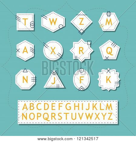White silhouette pointy basic shapes initials emblems and labels set