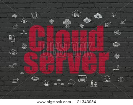 Cloud networking concept: Cloud Server on wall background