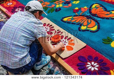 Decorating Dyed Sawdust Flowers On Lent Carpet, Antigua, Guatemala
