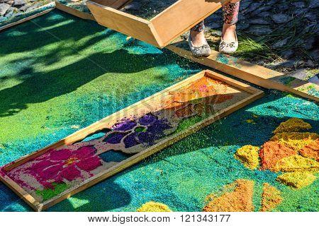 Sifting Dyed Sawdust Onto Lent Carpet, Antigua, Guatemala