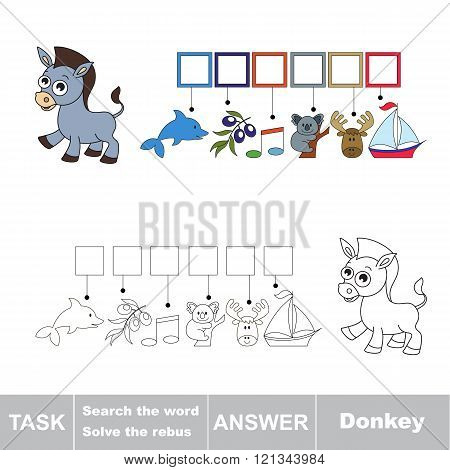Vector rebus game for children. Find solution and write the hidden word Donkey