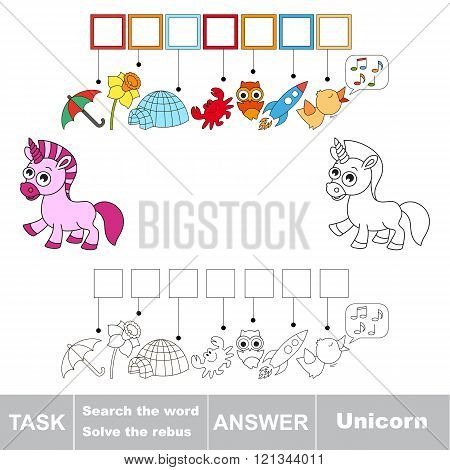 Vector rebus game for children. Find solution and write the hidden word Unicorn