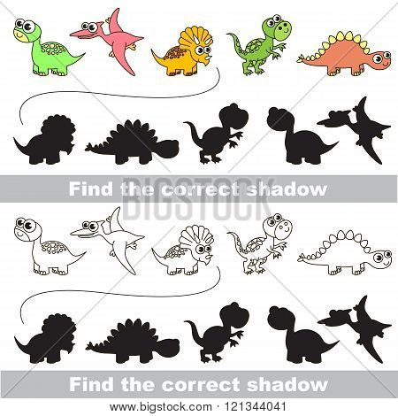 Dinosaurs set with shadows to find the correct one. Compare and connect objects. and their true shadows. Logic game for children.