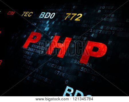 Software concept: Php on Digital background