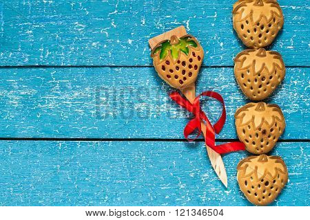 Cookies For Mom In The Form Of Strawberries