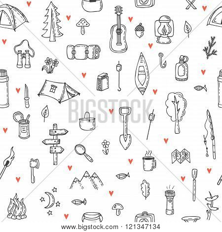 I love camping. Hand drawn hike seamless pattern. Doodle camping elements. Picnic hiking travel and camping. Vector illustration