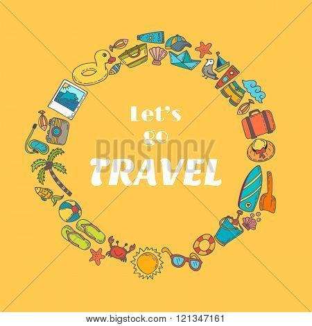 Let's go travel. Hand drawn travel concept. Adventure motivation concept. Cute postcard. Vector illustration