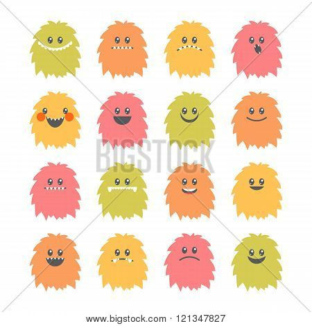 Set Of Cartoon Smiley Monsters. Collection Of Different Cute And Funny Fluffy Monsters Characters