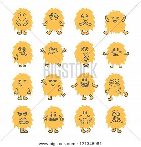 Set of hand drawn cartoon smiley monsters. Collection of different cute fluffy monsters characters. Vector illustration