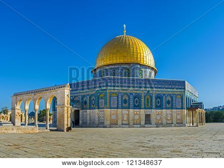 The Dome of the Rock is famous for its beauty among the tourists all over the world Jerusalem Israel.