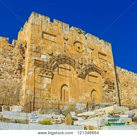 JERUSALEM ISRAEL - FEBRUARY 16 2016: The Golden Gate (Gate of Mercy) is the oldest in city and the only one eastern gate from Temple Mount on February 16 in Jerusalem.