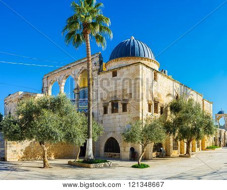 Nowadays the Temple Mount is a large architectural complex of Islamic buildings and shady gardens Jerusalem Israel. ** Note: Visible grain at 100%, best at smaller sizes