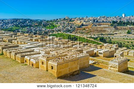 The stones instead of flowers on the Jewish graves in cemetery on the Mount of Olives Jerusalem Israel.